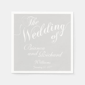 pastel light gray & white wedding disposable serviette