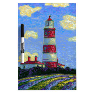 Pastel Lighthouse and Lavender Fields Dry Erase Board