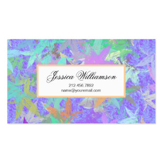 Pastel Lilac Autumn Maple Leaves Pack Of Standard Business Cards