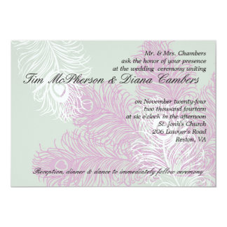 Pastel Lilac Peacock Feather Wedding  Invitations