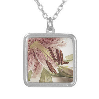 Pastel Lilly. Silver Plated Necklace
