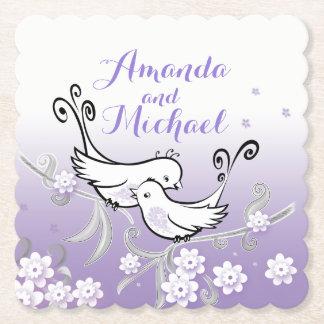 Pastel love birds custom wedding coaster