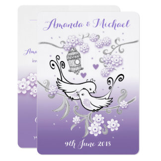 Pastel love birds personalised wedding invite