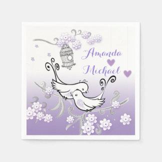 Pastel love birds wedding custom serviette paper napkin
