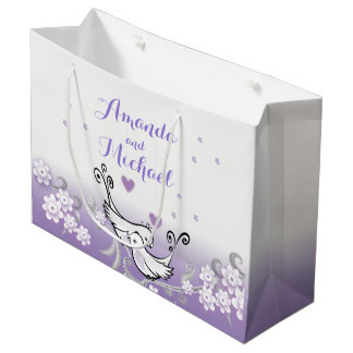 Pastel love birds wedding large glossy gift bag