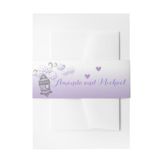 Pastel love birds wedding stationery Belly Band Invitation Belly Band