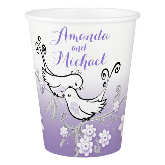Pastel lovebirds wedding custom paper cup
