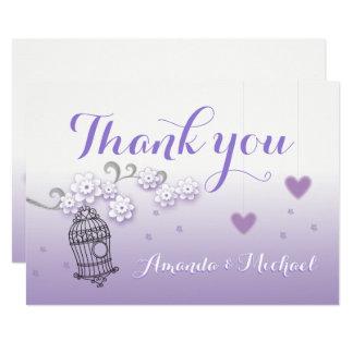 Pastel lovebirds wedding custom Thank You card