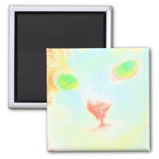 Pastel Maine Coon Cat Image Square Magnet