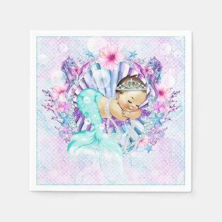 Pastel Mermaid Baby Shower Napkins Disposable Serviette
