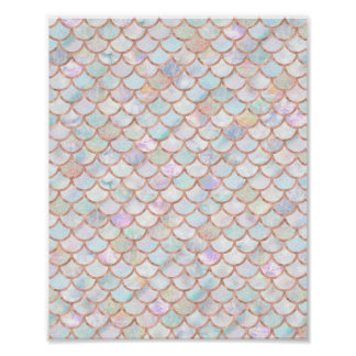 Pastel Mermaid Scales Pattern Rose Gold Poster