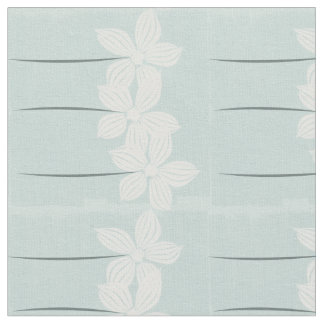 Pastel Mint Floral White Flowers Pattern Fabric