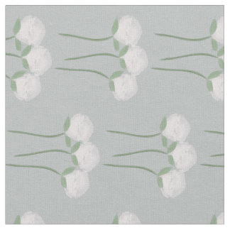 Pastel Mint Gray Floral Watercolor Roses Pattern Fabric