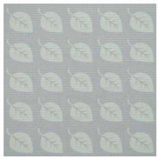 Pastel Mint Gray Leaf Pattern Fabric