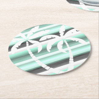 Pastel Mint Green Gray Watercolor Stripes Pattern Round Paper Coaster
