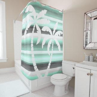 Pastel Mint Green Gray Watercolor Stripes Pattern Shower Curtain