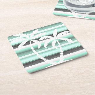 Pastel Mint Green Gray Watercolor Stripes Pattern Square Paper Coaster
