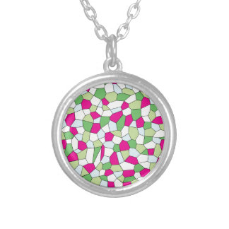 Pastel Mosaic Silver Plated Necklace