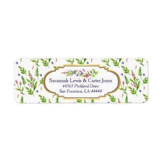 Pastel Multifloral & Gold Frame Return Address Return Address Label