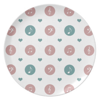 Pastel Music Notes Dinner Plate