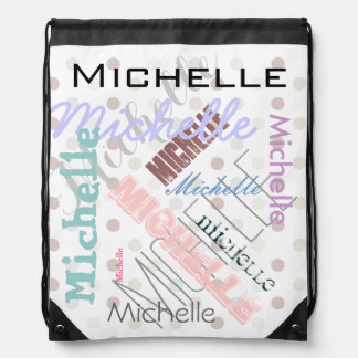 Pastel Name Polka Dot Drawstring Bag