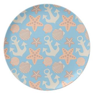 Pastel Nautical Pattern Plate