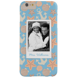 Pastel Nautical Pattern | Your Photo & Name Barely There iPhone 6 Plus Case