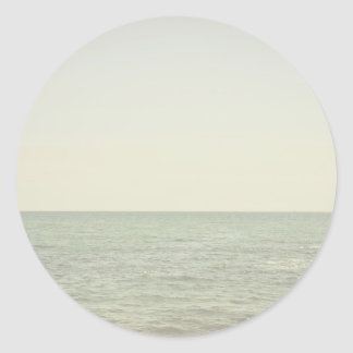Pastel Ocean Photography Minimalism Round Stickers