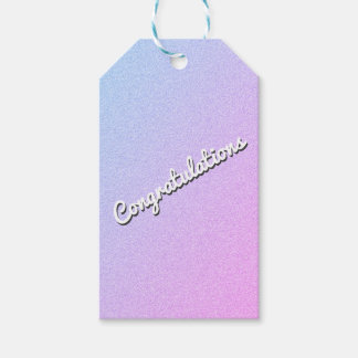 Pastel Ombre Glitter Custom Text Gift Tags