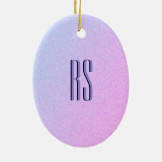 Pastel Ombre Glitter Monogram Ceramic Ornament