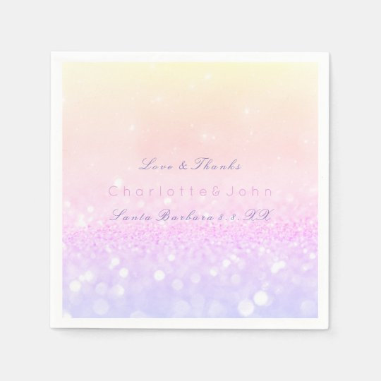 Pastel Ombre Pink Purple Sparkly Glitter Delicate Disposable Napkin