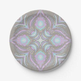 Pastel on Concrete Street Mandala 7 Inch Paper Plate