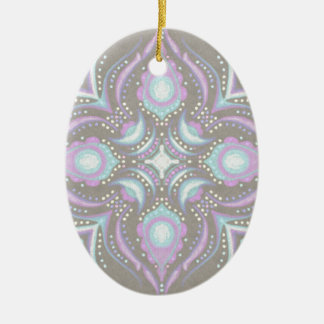 Pastel on Concrete Street Mandala Ceramic Ornament
