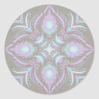 Pastel on Concrete Street Mandala Classic Round Sticker