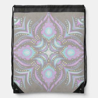 Pastel on Concrete Street Mandala Drawstring Bag