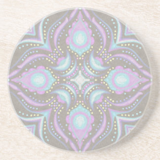 Pastel on Concrete Street Mandala Drink Coasters