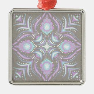 Pastel on Concrete Street Mandala Metal Ornament