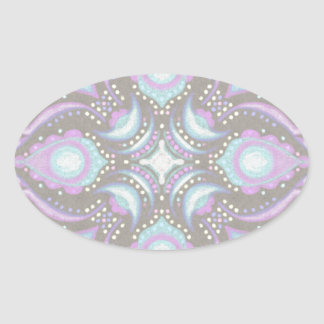 Pastel on Concrete Street Mandala Oval Sticker