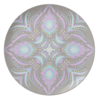 Pastel on Concrete Street Mandala Party Plates
