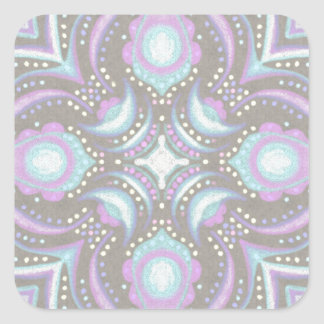 Pastel on Concrete Street Mandala Square Sticker