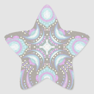 Pastel on Concrete Street Mandala Star Sticker