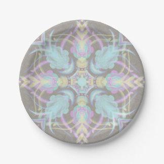 Pastel on Concrete Street Mandala (variation) 7 Inch Paper Plate