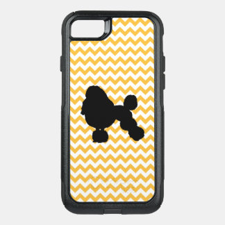 Pastel Orange Chevron With Poodle Silhouette OtterBox Commuter iPhone 8/7 Case