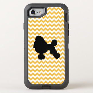 Pastel Orange Chevron With Poodle Silhouette OtterBox Defender iPhone 8/7 Case