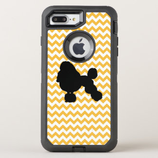 Pastel Orange Chevron With Poodle Silhouette OtterBox Defender iPhone 8 Plus/7 Plus Case