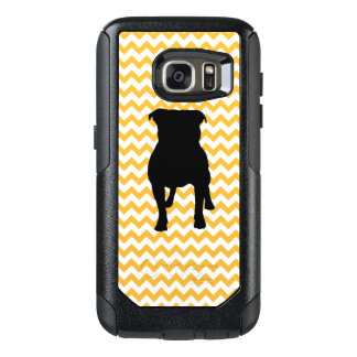 Pastel Orange Chevron With Pug Silhouette OtterBox Samsung Galaxy S7 Case