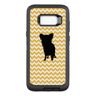 Pastel Orange Chevron With Yorkie Silhouette OtterBox Defender Samsung Galaxy S8+ Case