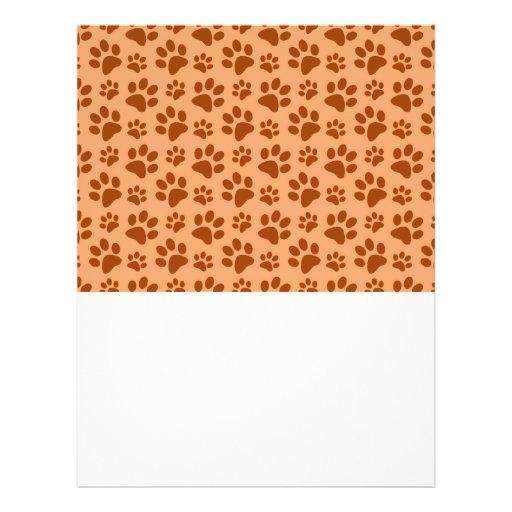 Pastel orange dog paw print pattern flyer design