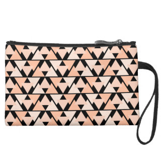 Pastel Orange Geometric Triangle Pattern Clutch