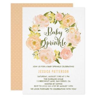 Pastel Orange Peonies Wreath Baby Sprinkle Invite